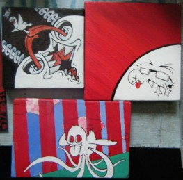 three small canvases