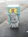 1/4 giant burger trash can on tellegraph in Oakland